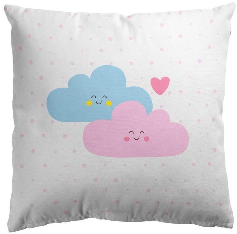 Poduszka bawełniana dla dzieci Schoolmania Chmurki różowo-niebieska 45 x 45 cm