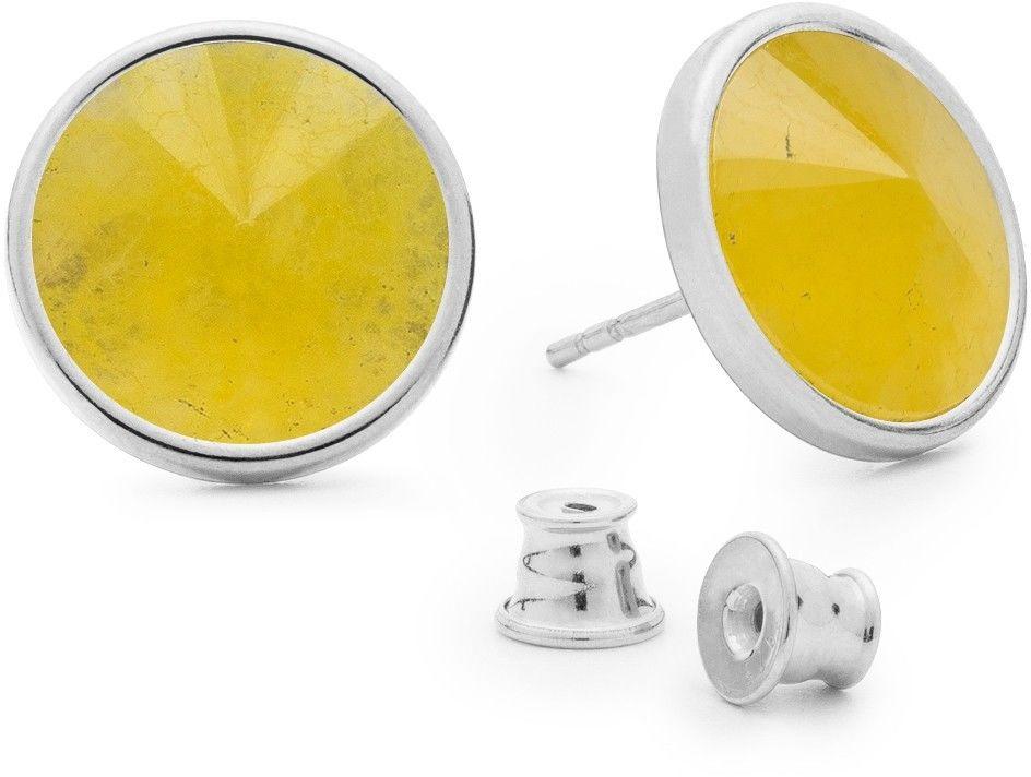 Srebrne kolczyki kamień naturalny chalcedon, srebro 925 : Kamienie naturalne - kolor - chalcedon żółty , Srebro - kolor pokrycia - Pokrycie platyną
