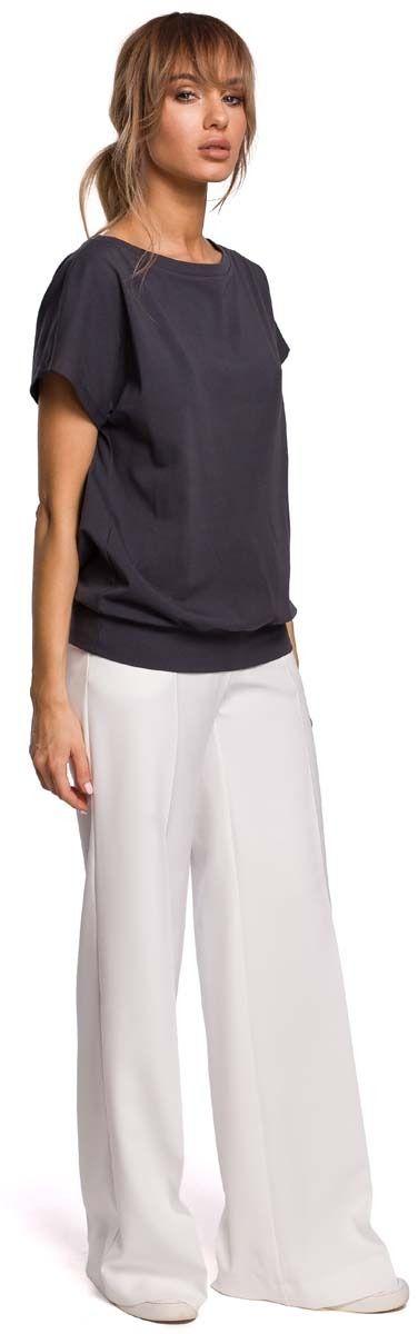 Dzianinowa bluzka z kopertowym tyłem - stalowa