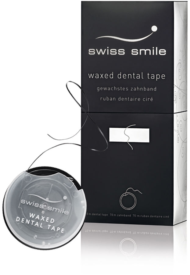SWISS SMILE In Between 70m (E924) - miętowa, woskowana, czarna nić dentystyczna z włókien CUREN