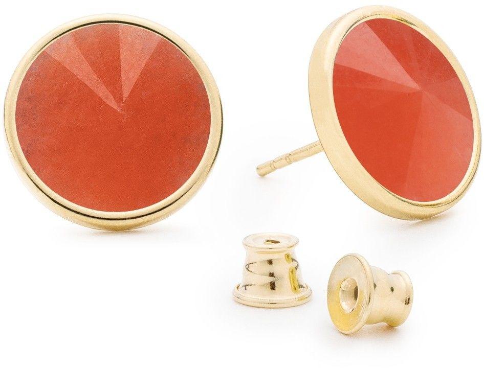 Srebrne kolczyki z jadeitem, srebro 925 : Kamienie naturalne - kolor - jadeit pomarańczowy, Srebro - kolor pokrycia - Pokrycie żółtym 18K złotem