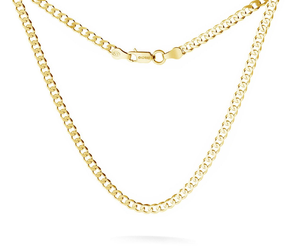 Męski łańcuszek pancerka, srebro 925 : Długość (cm) - 45, Srebro - kolor pokrycia - Pokrycie żółtym 18K złotem