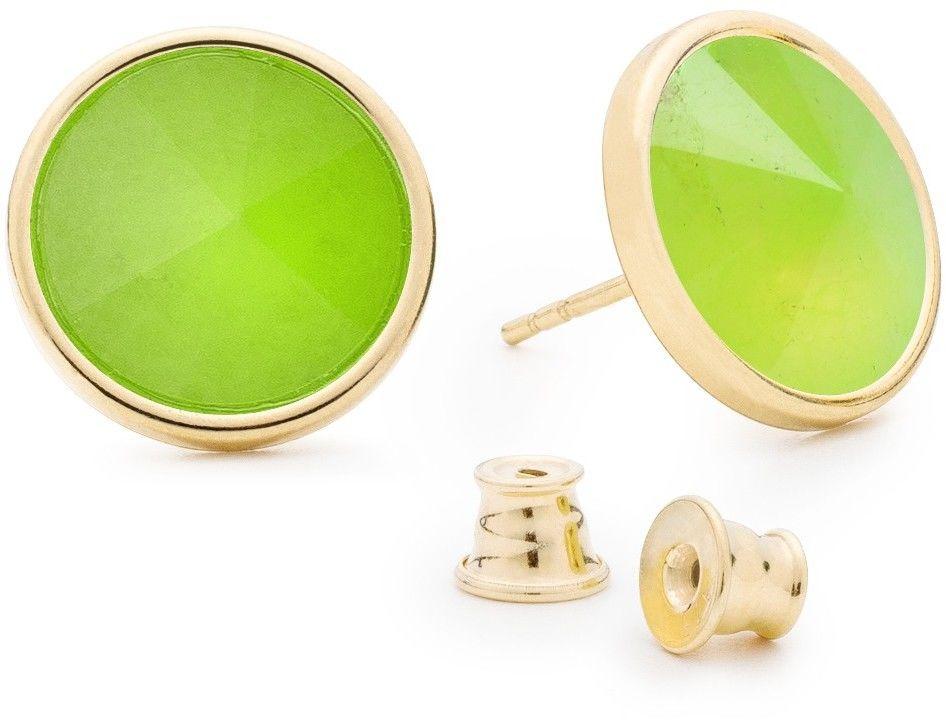 Srebrne kolczyki z naturalnym kamieniem, chryzopraz, srebro 925 : Kamienie naturalne - kolor - chryzopraz zielony jasny, Srebro - kolor pokrycia - Pokrycie żółtym 18K złotem