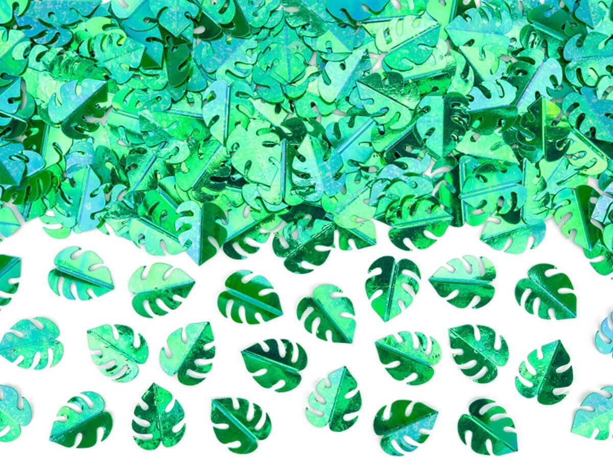 Konfetti metalizowane Zielone Liście - 15 g