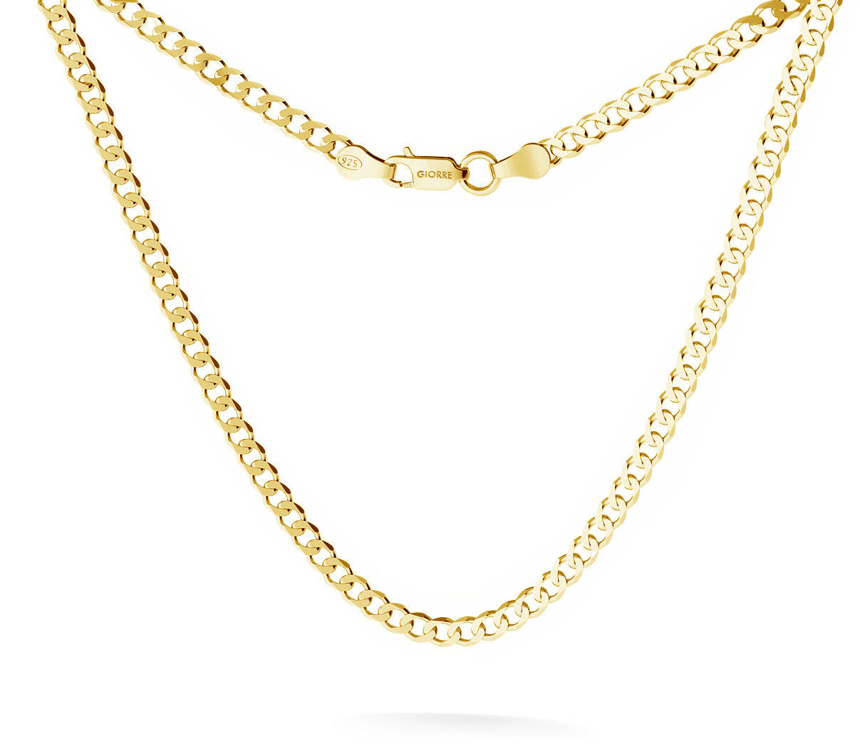 Męski łańcuszek pancerka, srebro 925 : Długość (cm) - 55, Srebro - kolor pokrycia - Pokrycie żółtym 18K złotem