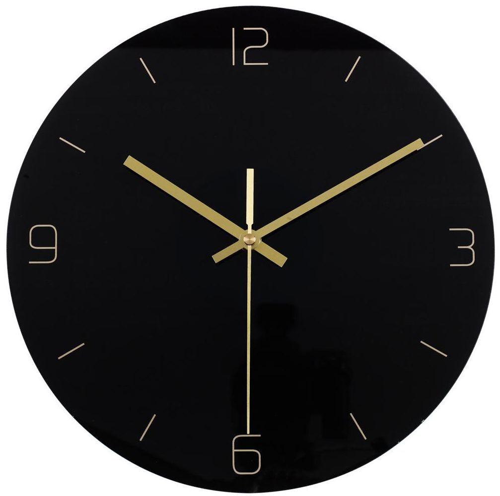 Zegar ścienny szklany Black śr. 30 cm czarny