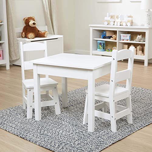 Melissa & Doug Meble drewniany stół i krzesła zestaw - biały