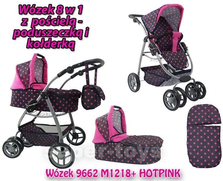 Wózek nowy dla lalek model 8 funkcyjny z nosidłem, kołderką i poduszką/9662