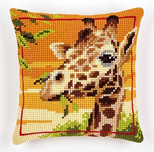 Vervaco poduszka z haftem krzyżykowym żyrafa, wielokolorowa, tkanina, 16 x 16