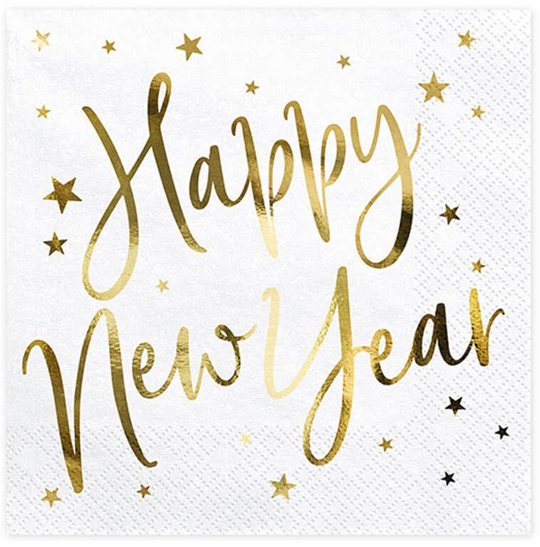 Serwetki Happy New Year białe - 33 cm - 20 szt.