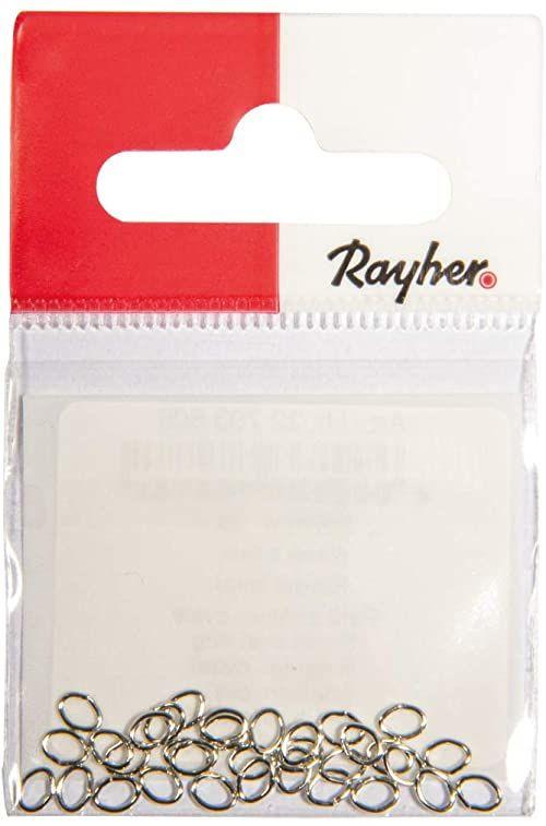 Rayher 22793606 kółko owalne, srebrne, 3 x 4 mm, grubość 0,5 mm, SB-Btl 30 sztuk, normalne