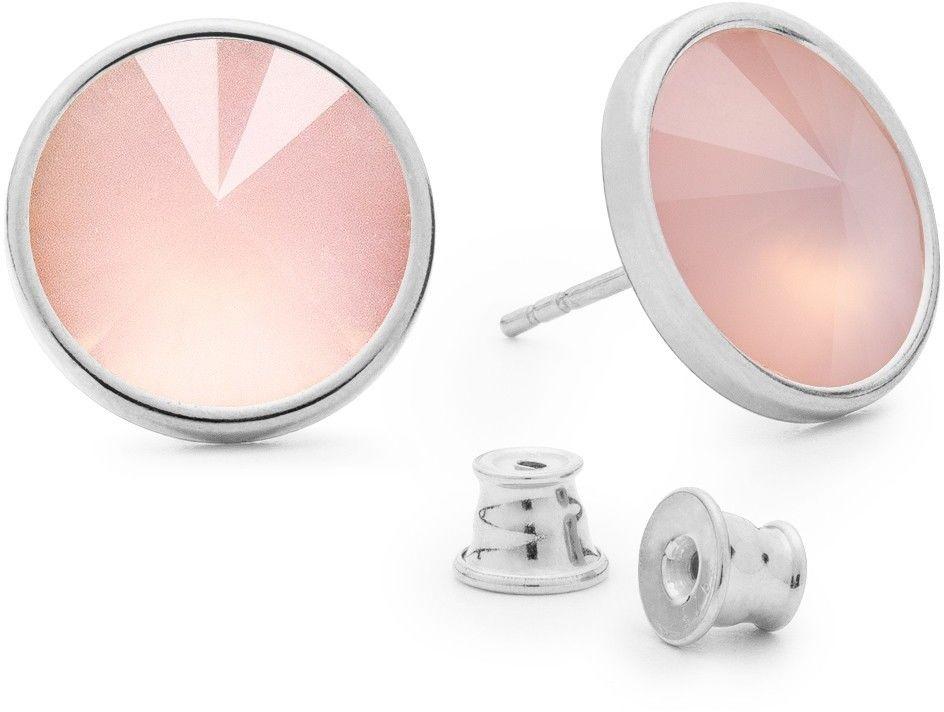 Srebrne kolczyki z kwarcem, srebro 925 : Kamienie naturalne - kolor - kwarc różowy antyczny, Srebro - kolor pokrycia - Pokrycie platyną