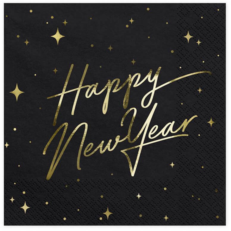 Serwetki Happy New Year czarne - 33 cm - 20 szt.