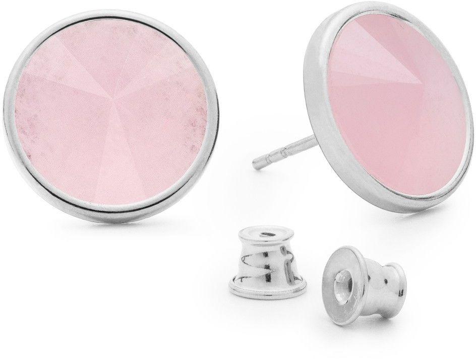 Srebrne kolczyki z kwarcem, srebro 925 : Kamienie naturalne - kolor - kwarc różowy, Srebro - kolor pokrycia - Pokrycie platyną