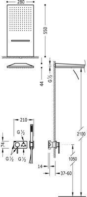 3V Tres podtynkowy zestaw natryskowy z deszczownią ścienną chrom - 210.273.01 Darmowa dostawa
