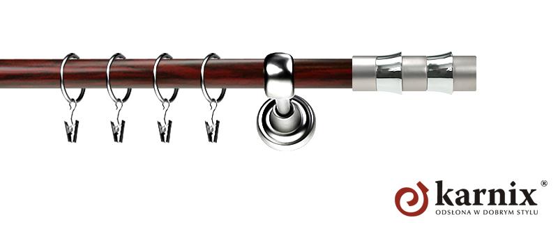 Karnisz Metalowy Prestige pojedynczy 19mm Fresno INOX - mahoń