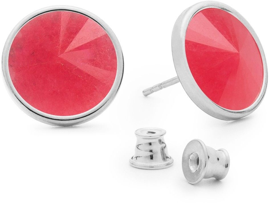 Srebrne kolczyki z jadeitem, srebro 925 : Kamienie naturalne - kolor - jadeit różowy, Srebro - kolor pokrycia - Pokrycie platyną