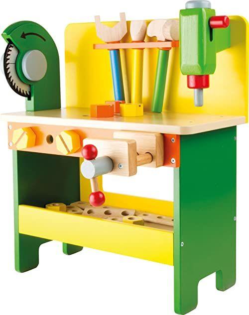 """small foot 1538 """"Christian"""" stół warsztatowy z drewna, drewniane zabawki ze śrubami, nakrętkami i deskami perforowanymi, od 3 lat"""