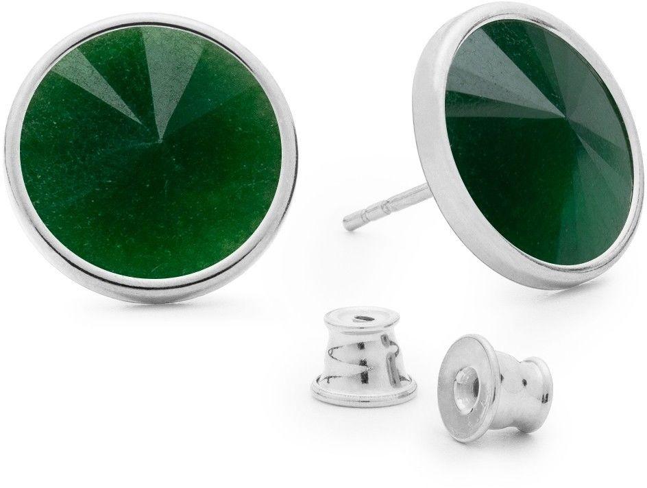 Srebrne kolczyki z jadeitem, srebro 925 : Kamienie naturalne - kolor - jadeit zielony ciemny, Srebro - kolor pokrycia - Pokrycie platyną