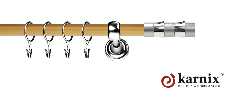 Karnisz Metalowy Prestige pojedynczy 19mm Fresno INOX - pinia