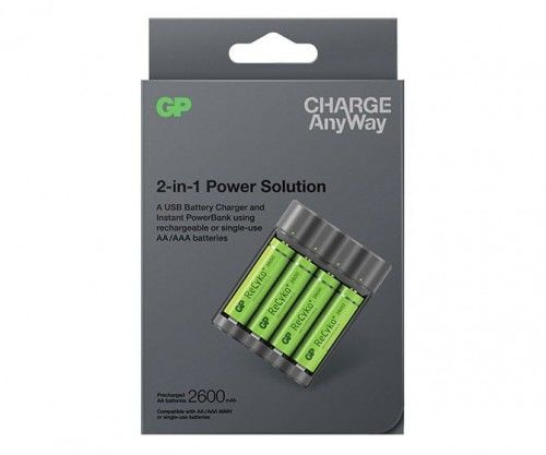 Ładowarka GP + Power Bank 2w1 AnyWay x411 + akumulatorki 2600 mAh