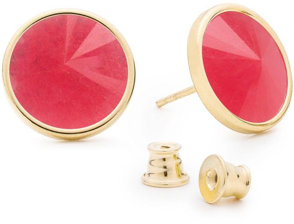 Srebrne kolczyki z jadeitem, srebro 925 : Kamienie naturalne - kolor - jadeit różowy, Srebro - kolor pokrycia - Pokrycie żółtym 18K złotem
