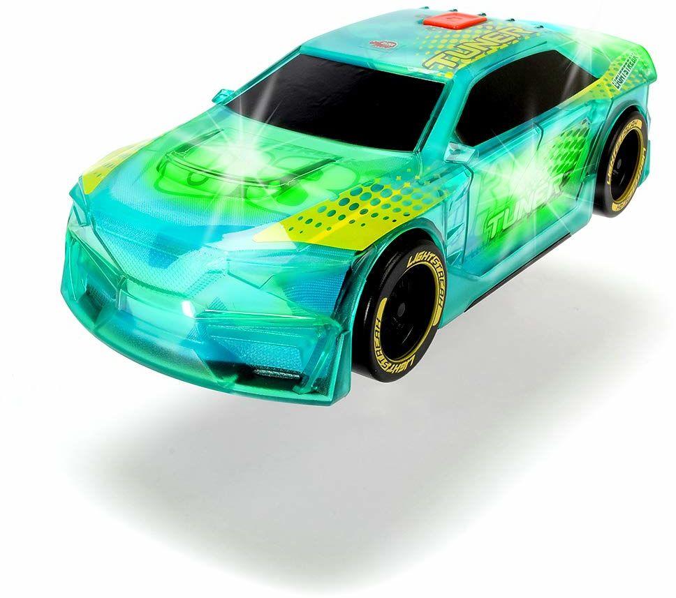 Dickie Toys Lightstreak tuner, świecący samochód do zabawek z frykcją, zmianą światła i dźwięku, w zestawie baterie, 20 cm, zielony