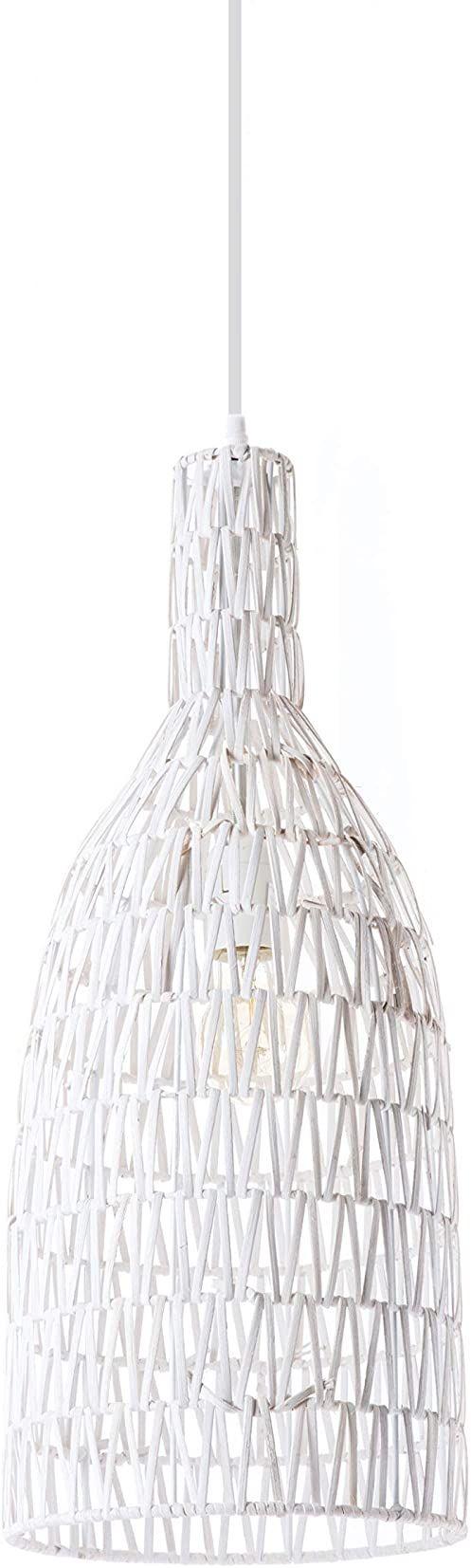 Lussiol 250270 lampa wisząca, rattan, 60 W, biała, ø 22 x wys. 60 cm