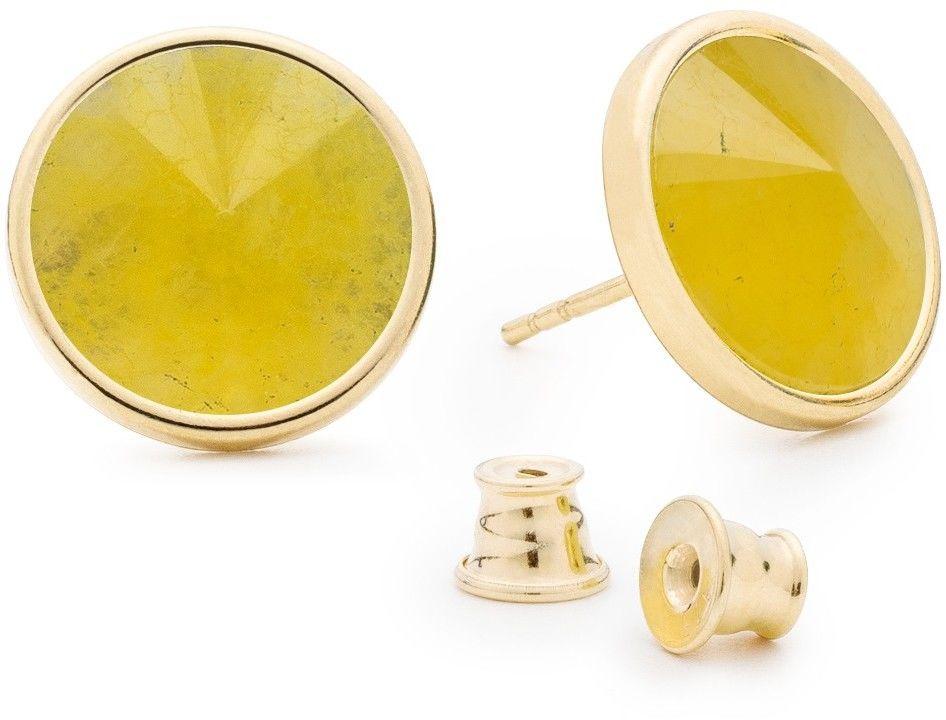 Srebrne kolczyki kamień naturalny chalcedon, srebro 925 : Kamienie naturalne - kolor - chalcedon żółty , Srebro - kolor pokrycia - Pokrycie żółtym 18K złotem