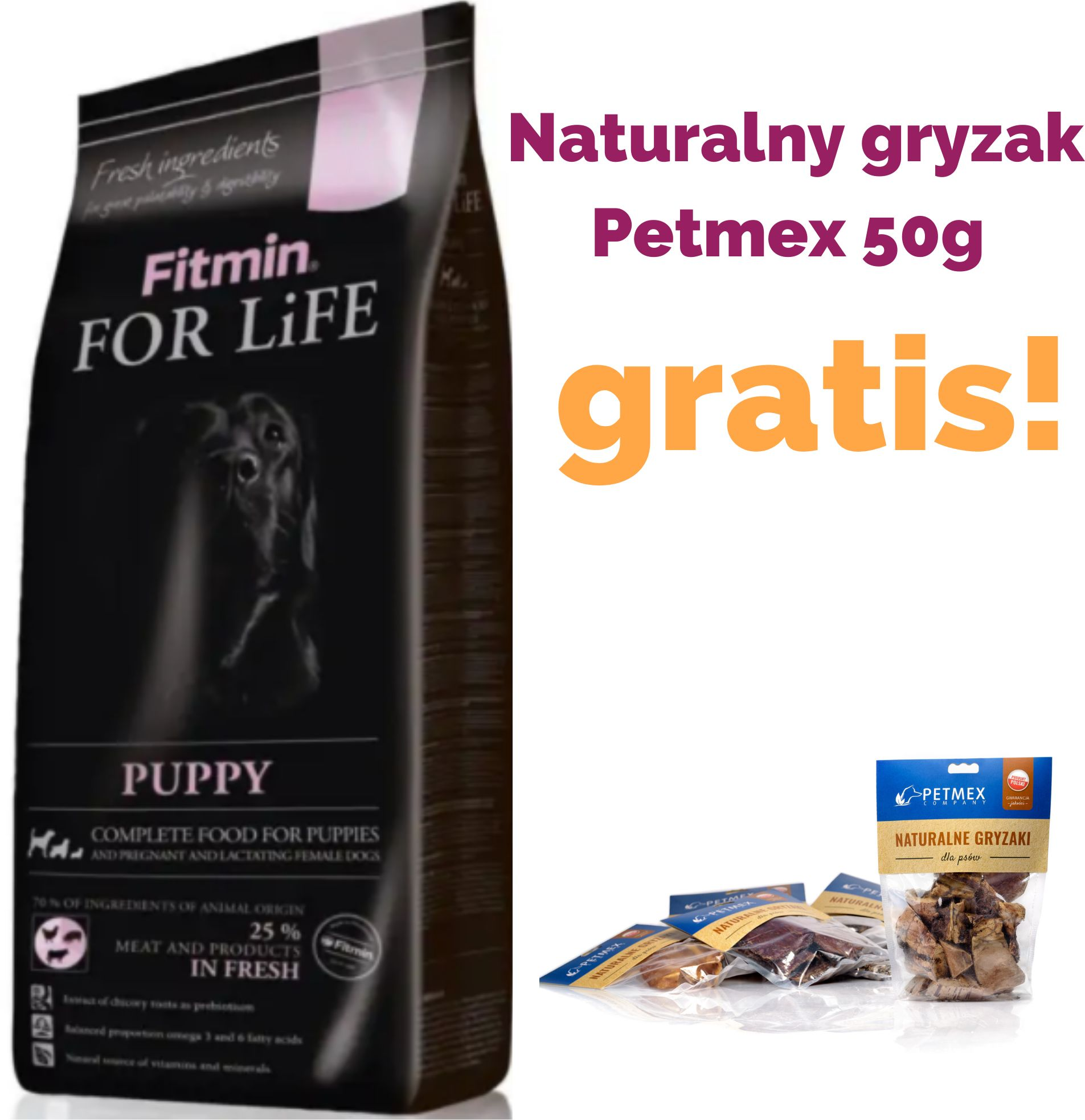 FITMIN - For life puppy pies 15kg + Gratis!