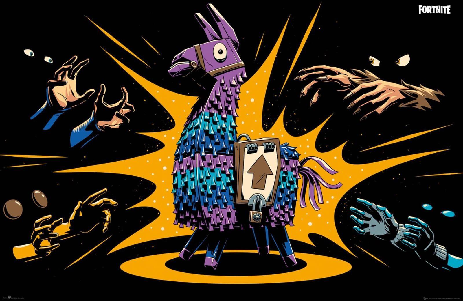 Fortnite loot llama - plakat