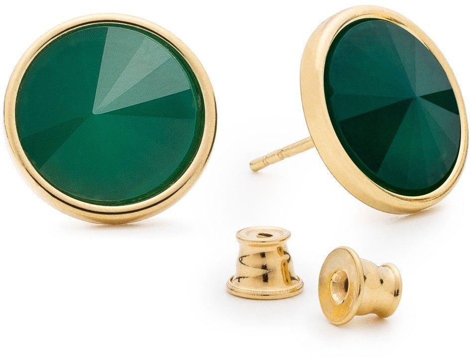 Srebrne kolczyki z jadeitem, srebro 925 : Kamienie naturalne - kolor - jadeit zielony jasny, Srebro - kolor pokrycia - Pokrycie żółtym 18K złotem