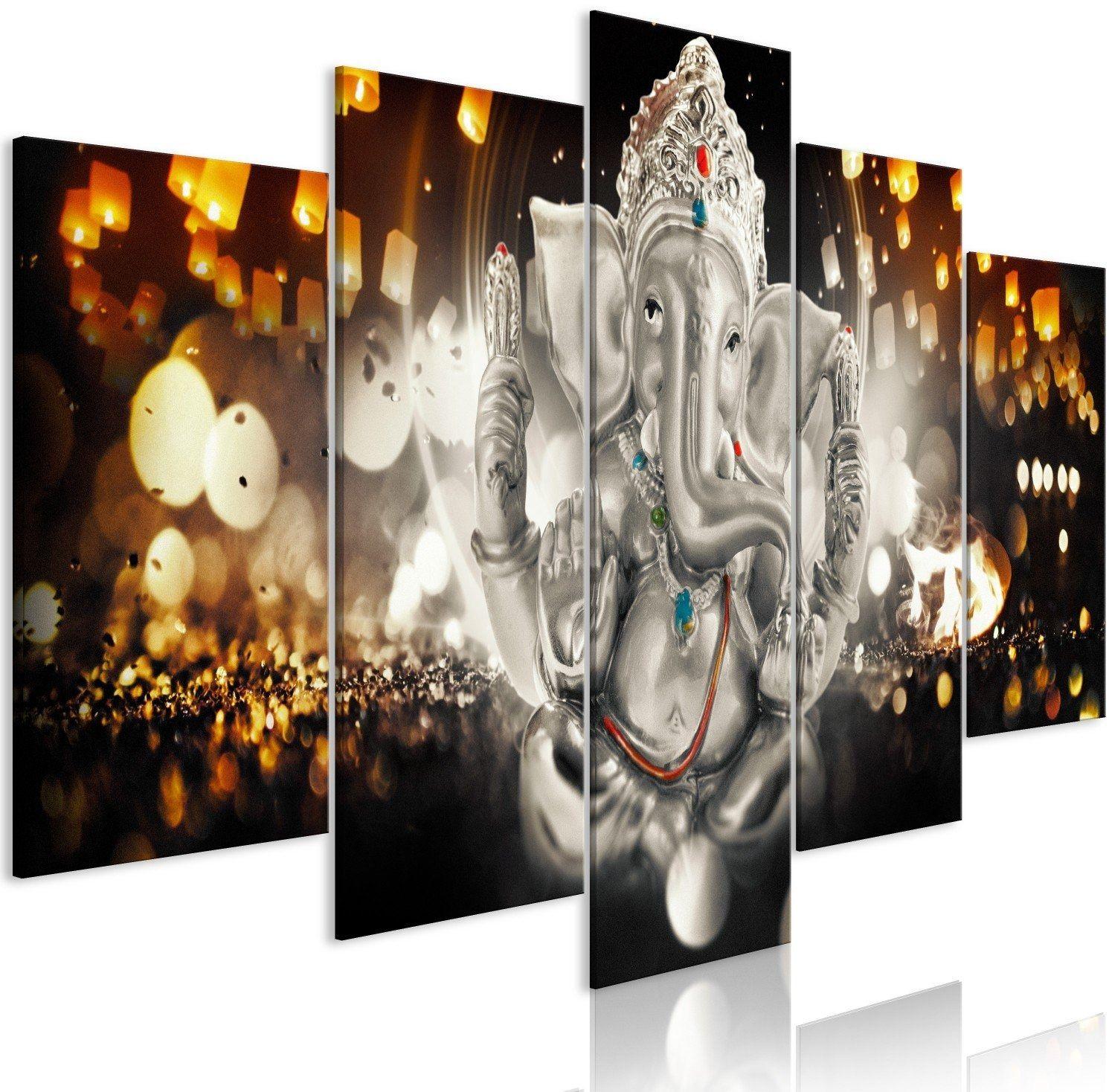 Obraz - filozofia buddy (5-częściowy) srebrny szeroki
