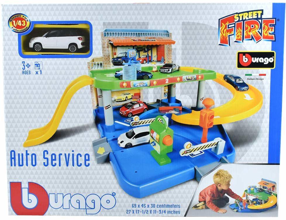 Bburago 15630039 - Auto Service Playset parkingowy z 1 pojazdem, skala 1:43