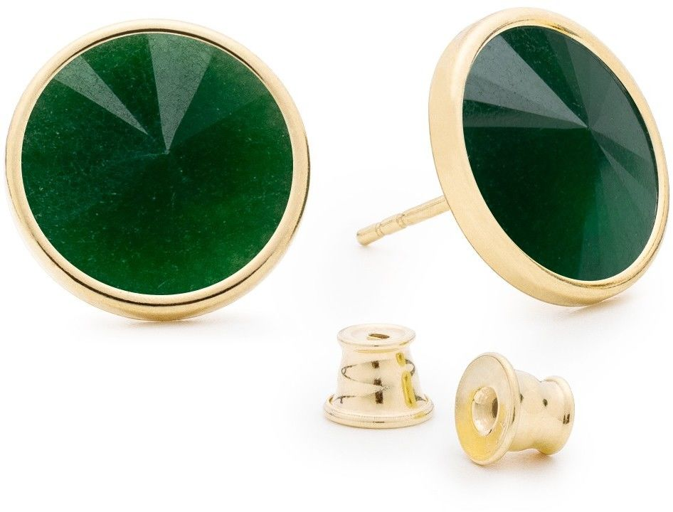 Srebrne kolczyki z jadeitem, srebro 925 : Kamienie naturalne - kolor - jadeit zielony ciemny, Srebro - kolor pokrycia - Pokrycie żółtym 18K złotem