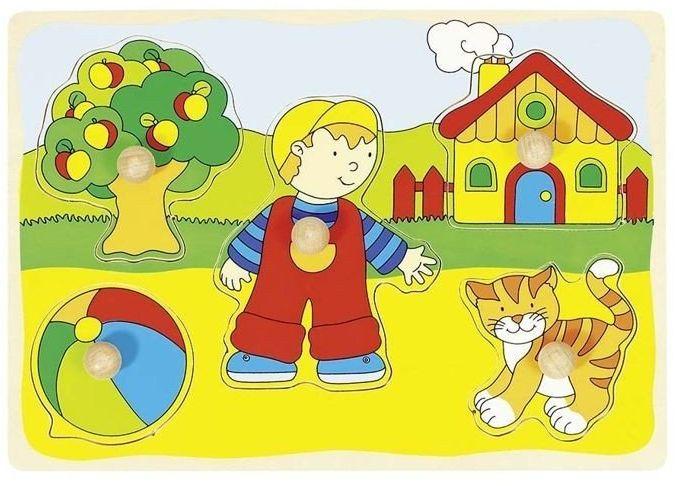 Chłopiec, kotek, piłka..., układanka drewniana, goki