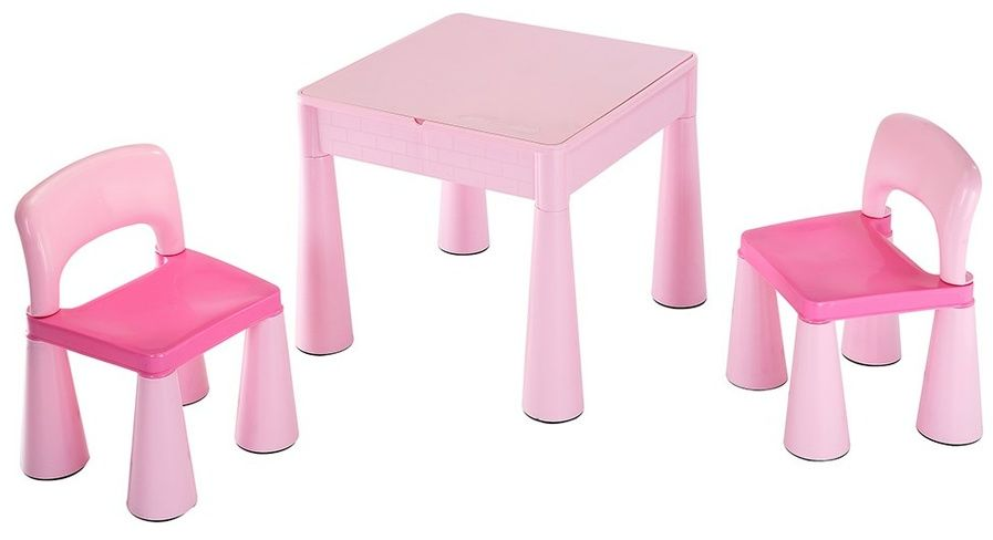 New Baby Komplet dla dzieci stolik i krzesełka 3 elem., różowy