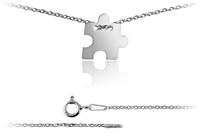 Srebrny naszyjnik 925 celebrytka puzzel 1,7g