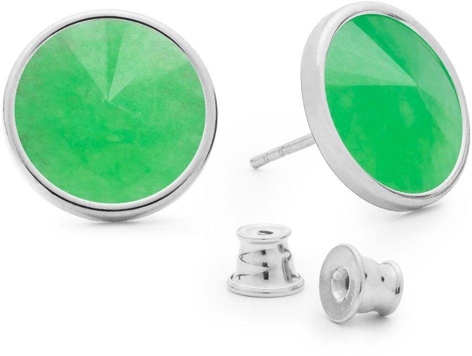 Srebrne kolczyki z naturalnym kamieniem, chryzopraz, srebro 925 : Kamienie naturalne - kolor - chryzopraz zielony ciemny, Srebro - kolor pokrycia - Pokrycie platyną