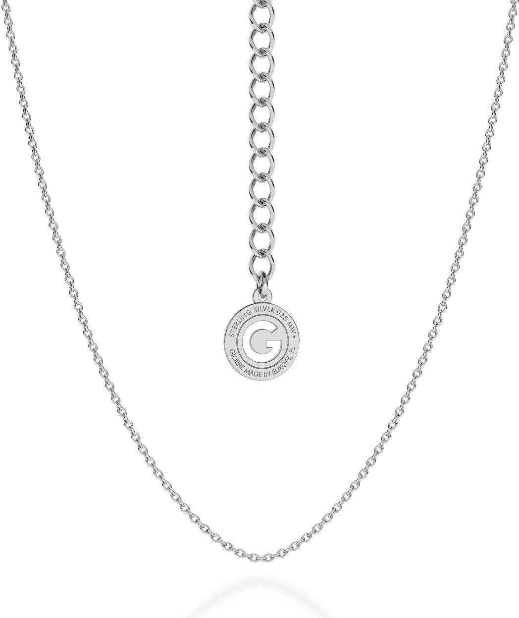 Srebrny delikatny łańcuszek ankier, srebro 925 : Długość (cm) - 55 + 5, Srebro - kolor pokrycia - Pokrycie platyną