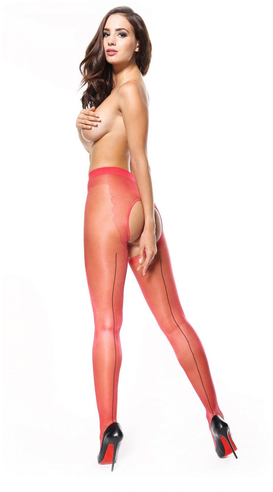 1 P211 rajstopy czerwony błyszczące ze szwem otwarty krok