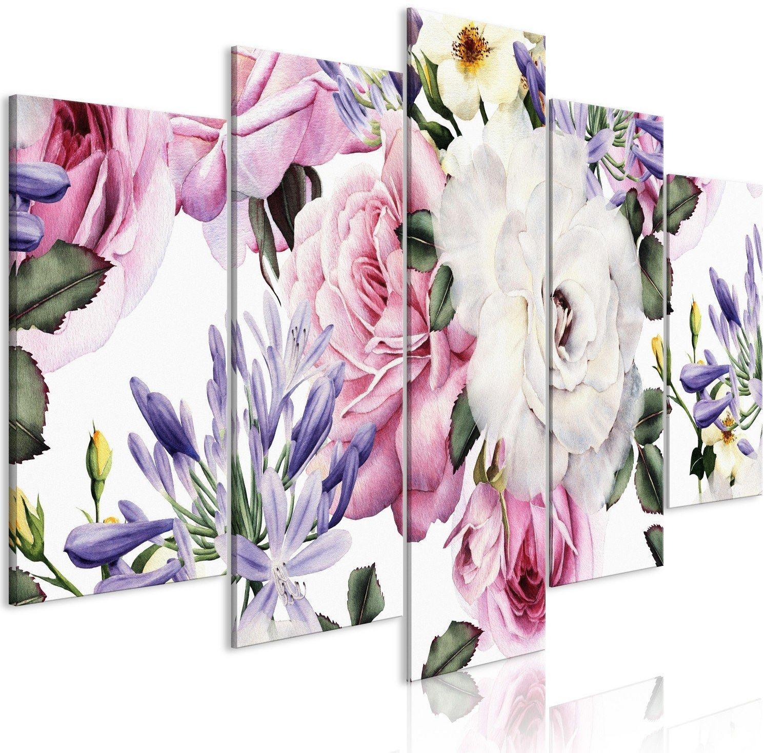 Obraz - różana kompozycja (5-częściowy) szeroki kolorowy