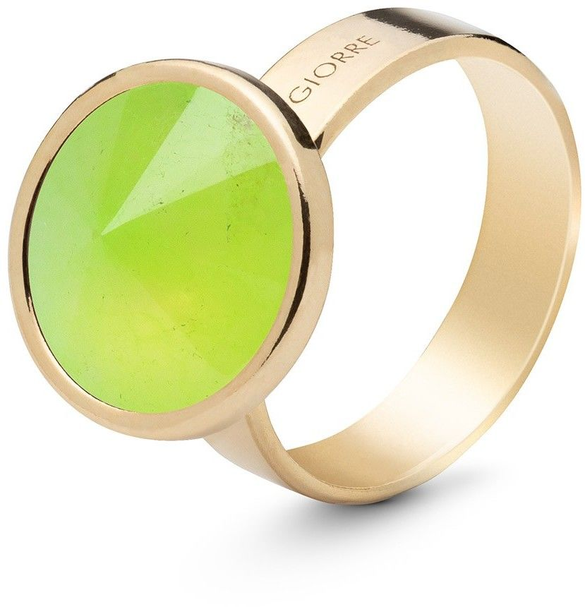 Srebrny pierścionek kamień naturalny chryzopraz, srebro 925 : Kamienie naturalne - kolor - chryzopraz zielony jasny, ROZMIAR PIERŚCIONKA - 13 UK:N 16,67 MM, Srebro - kolor pokrycia - Pokrycie żółty