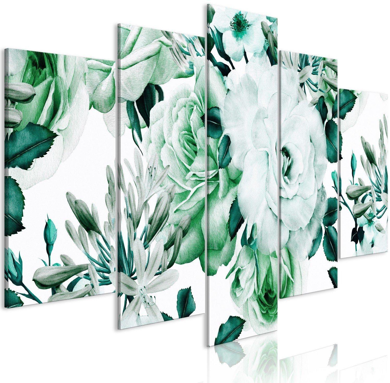 Obraz - różana kompozycja (5-częściowy) szeroki zielony