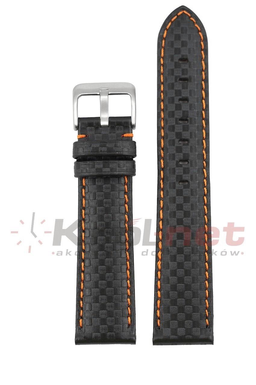 Pasek CH005/P/18 - karbon, czarny, pomarańczowe nici