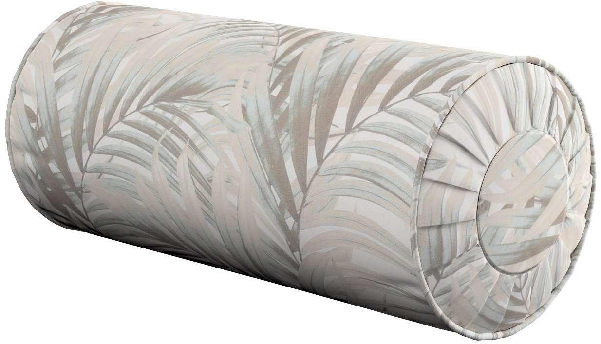 Poduszka wałek z zakładkami, beżowo- kremowe liście palmy na białym tle w , Ø20  50 cm, Gardenia