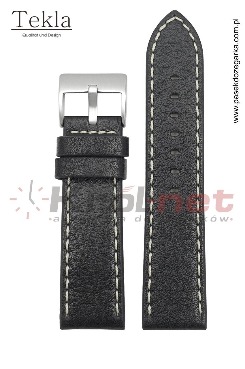 Pasek TK002/B/24 - czarny, białe przeszycia