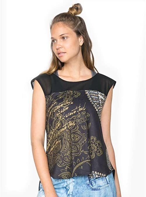 Desigual Damski T-shirt 71t2sc92000 czarny czarny S