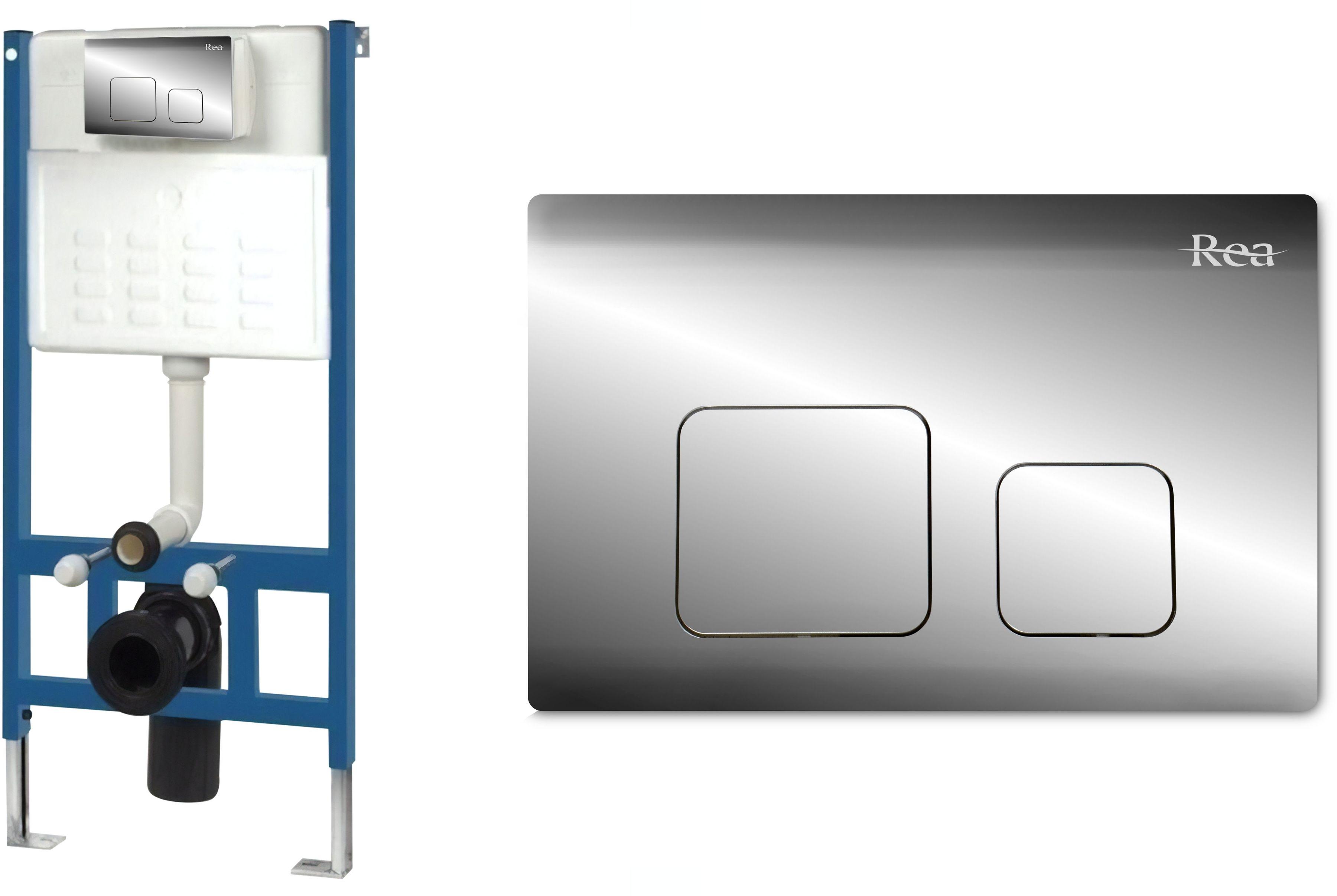 Rea Stelaż zestaw podtynkowy do mis WC z przyciskiem F Chrome