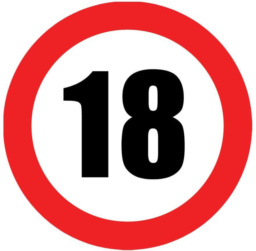 Talerzyki Znak zakazu 18tka - 18 cm - 6 szt.